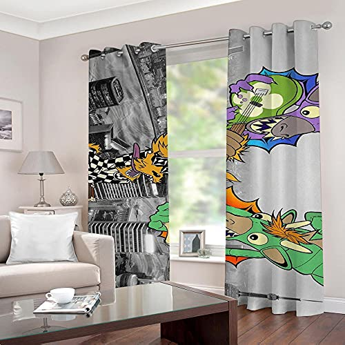 Cartoon Guitar Blackout Curtains - Super Soft Curtains For Bedroom Eyelet Curtains Drop Noise Reduce Curtains For Living Room Home Office 110 × 215 Cm × 2 Panel