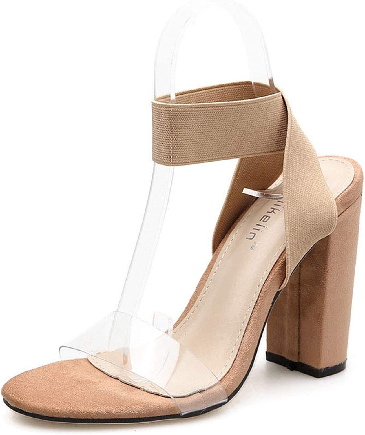 Women's high Heels, Europe and The United States Foreign Trade Sexy Ladies Sandals Fish Mouth Transparent Elastic Thick Super high Heel shoes Tide 40,a,40