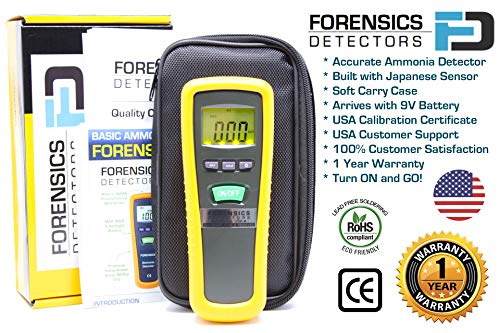 Basic Ammonia Meter by Forensics | 0-1000ppm with 1ppm Resolution | Farm, Poultry, Pig & Livestock | Soft Touch Rubber Grip | Large Display & Backlight |