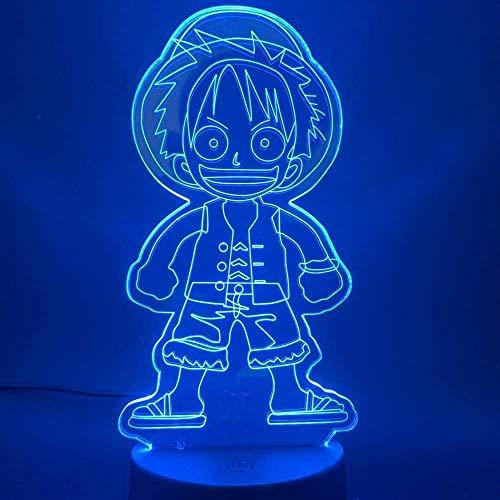 3D Night Light Boys Girls Toy Anime One Piece Cute Monkey D Luffy Figura