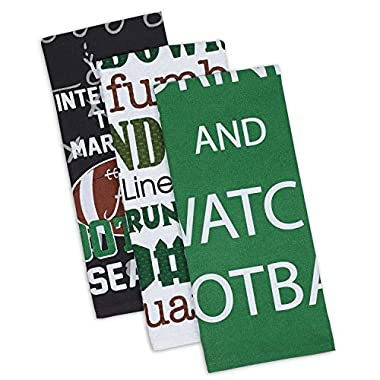 DII Cotton Everything Football Dish Towels, 18 x 28  Set of 3, Decorative Oversized KitchenTowels for Everyday Cooking and Baking