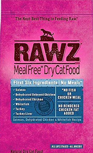 Rawz Dehydrated Cat Food, Salmon, Chicken and Whitefish Recipe Cat Food - 7.8 LB Bag, Fast, by Just Jak's Pet Market