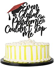 palasasa Black Glitter Graduation Cake Topper, Even A Global Pandemic Couldn't Stop Me Graduation Cake Topper Decorations, Congrats Class of 2021 Grad Party Cake Decorations Supplies (Black)