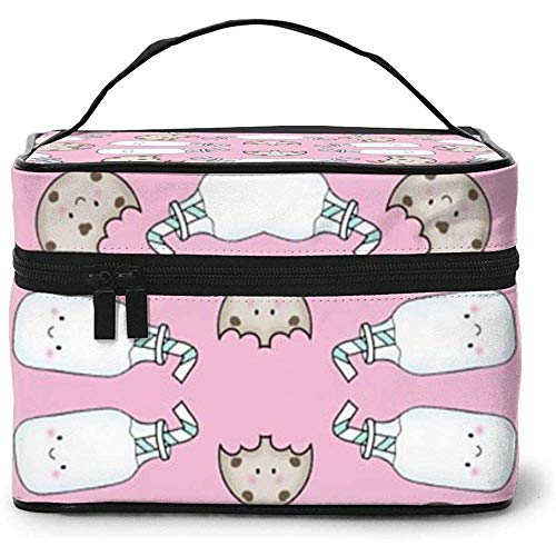 Cookies and Milk Pink Portable Ladies Travel Cosmetic Case Bag Storage Makeup Pouch Multi-Function Wash Large Capacity Makeup Bag