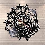 AGGG con Led Cinema Logo Disco de Vinilo Reloj de Pared Cine Ahora Reloj silencioso Pop Corn Drink 3D Glass Cinema Movie Decoración Show