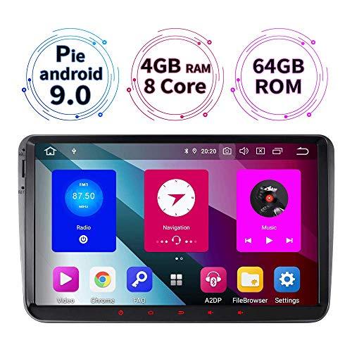 9 Zoll 4GB RAM+64GB ROM 8-Core Android 9.0 Autoradio für VW Passat B6 Touran Polo Golf V VI Skoda Fabia Radio mit Navi Unterstützt Bluetooth DAB+ WiFi 4G TPMS OBD2 Auto USB IPS SWC
