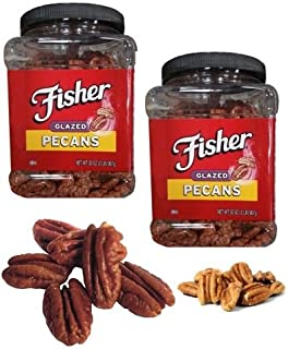 Twin Pack Combo- Delicious Fisher Fresh Glazed Pecans Jar of 2 Lb (32 Oz) Each