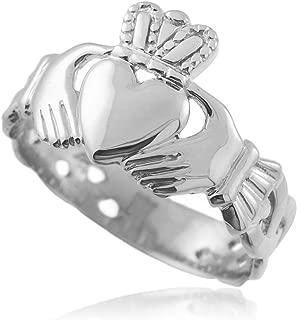 Bold 14k White Gold Men's Trinity Knot Band Irish Claddagh Ring