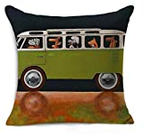 Petite Lili Cushion Cover with Dog Driver Design, Decorative Pillowcase -Bed/Kids/Sofa 18 x 18 inch, (Green Volkswagen) Cover only