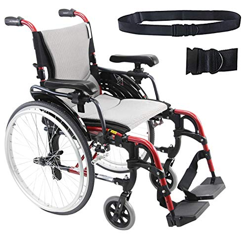 Karman S-Ergo 305 Lightweight Ergonomic Wheelchair S-Ergo305Q18SS, 29 lbs, Quick Release Wheels, Frame Rose Red, Seat Size 18'W X 17'D, Factory Adjustable Seat Height & Free Wheelchair Seatbelt!