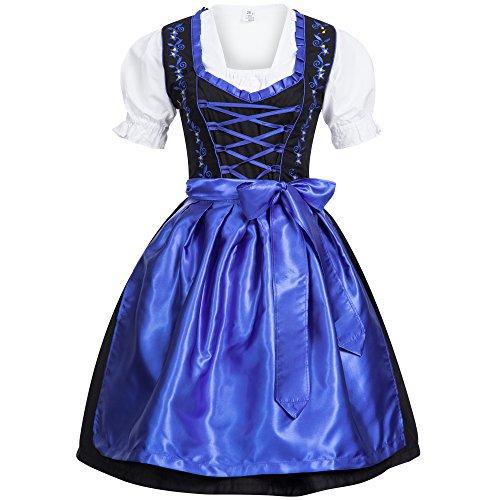 Mufimex Damen Dirndl Kleid Dirndlkleid Trachtenkleid Midi Schwarz Dunkelblau ohne Haken 44