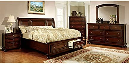 247SHOPATHOME IDF-7683Q-6PC Bedroom, Queen, Cherry
