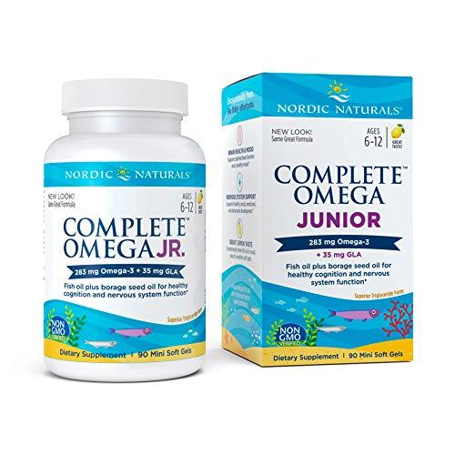 Nordic Naturals Complete Omega Jr, Lemon - 90 Mini Soft Gels - 283 mg Total Omega-3s & 35 mg GLA - Healthy Cognition, Nervous System Function - Non-GMO - 45 Servings