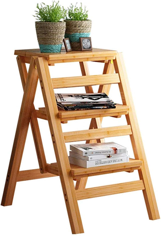 Multi-Function Step Stool Stool Shelf Solid Wood Foldable Multi-Layer Optional (Size   B)