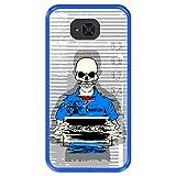 Hapdey Coque bleue pour [ Bq Aquaris U2 - U2 Lite ] Design [ Squelette en prison ] Coque en silicone...