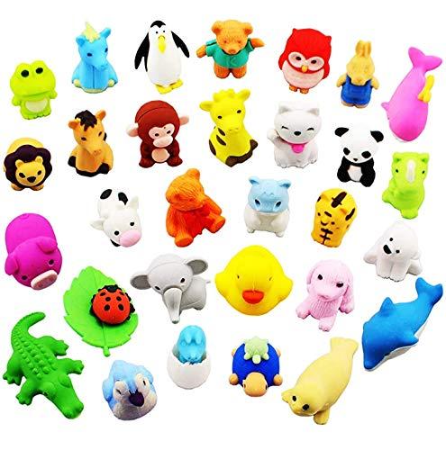 Gomas de Borrar Animal 36PCS Juguete Desmontable Mini Lápiz de Goma Conjunto de Borrador para Niños Regalo fiesta de cumpleaños Navidad oficina Escuela Papeleria Suministros