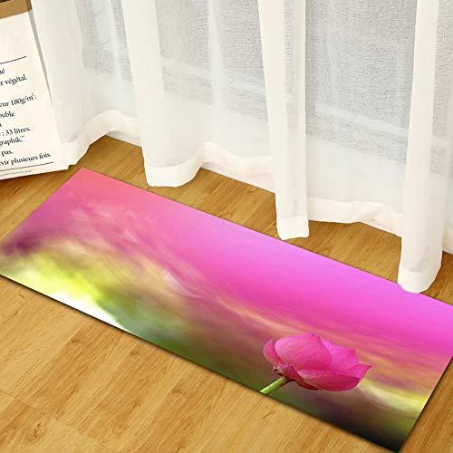 HANJIANGXUE Bloemen Keuken Tapijten Lotus Badmat 3D Sofa Kledingkast Schoenrek Strip Vloermat Kan Machine Was Tapijt Badkamer Slaapkamer Dekbed