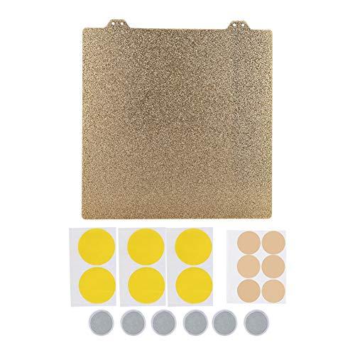 ASHATA Verwarmd bed stalen plaat, 3D Printer Hot Bed, dubbelzijdig getextureerde PEI poeder 220mm staalplaat, 6 magnetische blok (goud)