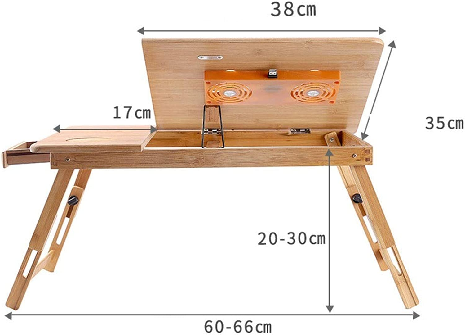 Folding Computer Table Bamboo Notebook Folding Table Bed Lazy Table Folding Desk with Fan with Drawer (Size   Fan with Drawer)