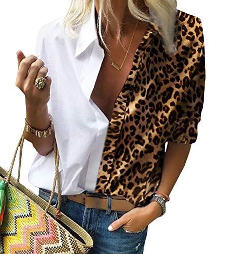 Minetom Chemisier Femme Chemise Tunique Blouse Manches Longues Imprimé Léopard Col en V Bloc de Couleur T-Shirt Top A Blanc 46