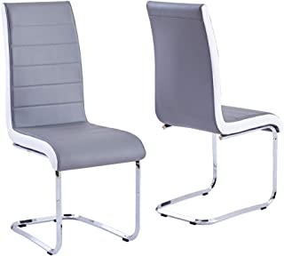 Modern Dining Chairs Set of 2, Grey White Side Dining Room Chairs, Kitchen Chairs with Faux Leather Padded Seat High Back and Sturdy Chrome Legs, Chairs for Dining Room,Kitchen, Living Room