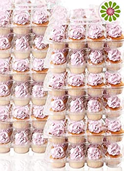 12Pack x 12 Sets  STACK nGO Cupcake Carriers - High Tall Dome Clear Containers Thick Plastic Disposable Storage Boxes 1 Dozen Compartments Slots Holder Cupcakes Box Tray Container Cup Cake Holders