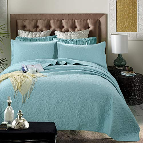 WINLIFE 3-Pieces Lightweight Bedspread for Summer King Size Orchid Print Matelasse Bedspread Coverlet Set (King, Turquoise)