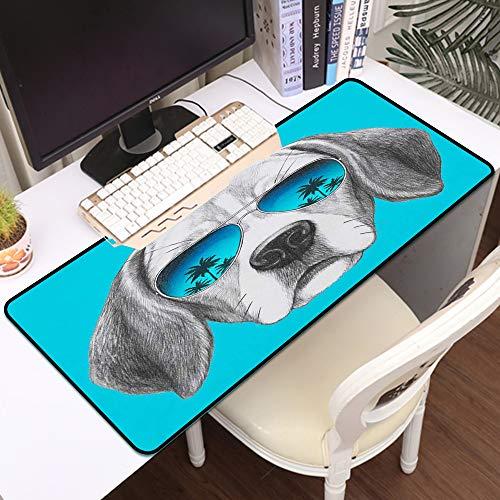 Gaming Mousepad Groß Mauspad,Porträt des Beagle-Hundes mit Spiegel-Sonnenbrille Hand gezeichnet,Komfort Mousepad - verbessert Präzision und Geschwindigkeit