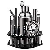 Bar-Set, 19-teiliges Cocktail-Shaker-Set mit achteckigem drehbarem Ständer, SS304 Edelstahl, Premium-Barkeeper-Set für Zuhause, Bar, Party (schwarz)