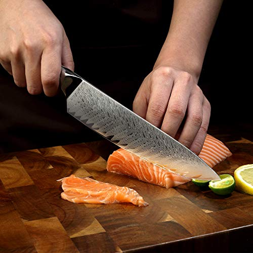 SIXILANG Damascus Kitchen Knife Set 3 Piece, 67 Layer Handmade Japanese AUS10 Steel Core Forged Chef Knife, Japanese Santoku Knife, Utility Knife, High-end Professional Kitchen Knives