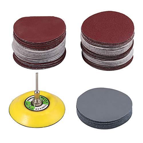Review huiqixian 100pcs 3'' 75mm Sanding Discs Pads 80-3000 Grit Hook/Loop Sandpaper + Sanding Pad+M...