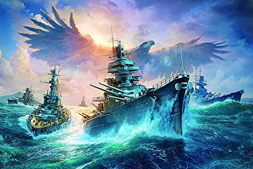 woyaofal Battleship in The Atlantic - Jigsaw Puzzles 1000-Piece DIY Adults and Kids Paper Toys Games38x26cm
