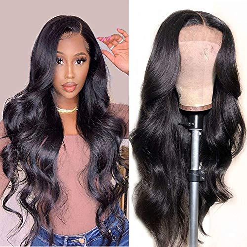 Amanda Hair 13×4 Lace Front Wigs 16 inch Brazilian Human Hair Body Wave Human Hair Lace Wigs With Baby Hair Pre Plucked for Black Women 150% Density Natural Black Hairline