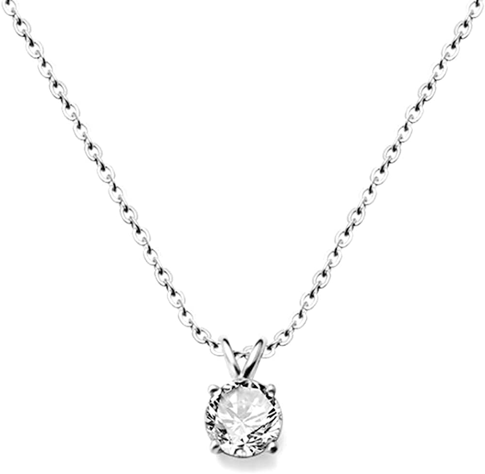 Jude Jewelers Stainless Steel Classical Simple Plain Solitaire Style Collar Charm Necklace