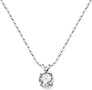 Stainless Steel Classical Simple Plain Solitaire Style Collar Charm Necklace