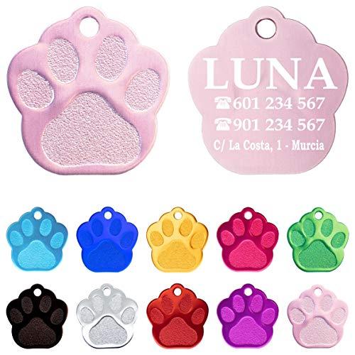 Iberiagifts - Placa en Forma de Huella para Mascotas pequeñas-Medianas Chapa Medalla de identificación Personalizada para Collar Perro Gato Mascota grabada (Rosa)