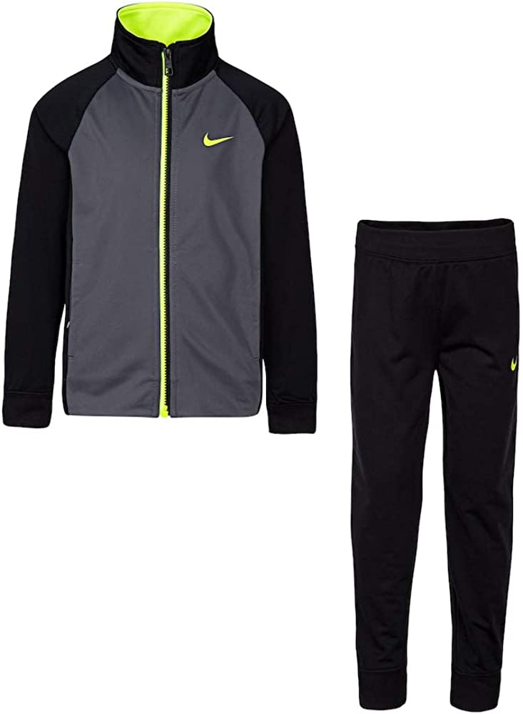 Nike Boy's Toddler Raglan Zip Track Jacket & Pants Sets (2T, Black)