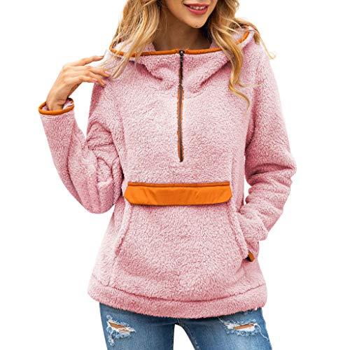 feiXIANG Damen Hoodie Sweatshirt mit Kapuze Langes Hülsen Pullover Bluse Frauen Streetwear Winter (A-Rosa,XL)