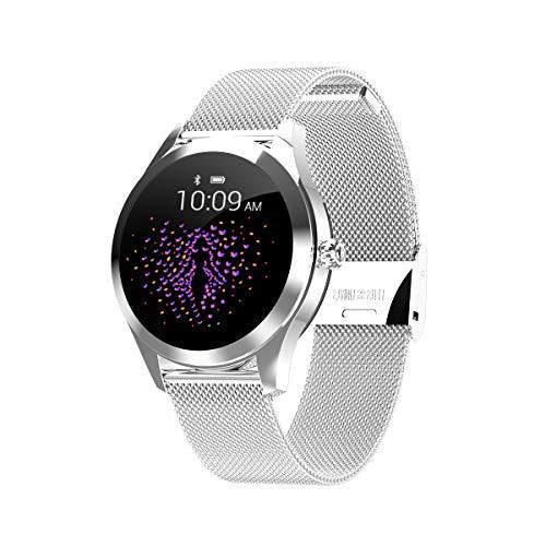 XXxx SUNLMG KW10 Vrouwen Mode Smart Armband Scherm Dynamische Wijzerplaat/Waterdicht/Hartslagtest/Klok Display/Stopwatch/Geschikt voor Hardlopen/Fietsen/Basketbal/Zwemmen, Zilver