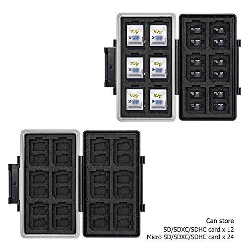 JJC Speicherkarten SD Karten Aufbewahrung Wasserdicht SD Karte Box Etui für 12 SD Karten und 24 Micro SD Karten - 2020 SD Card Case