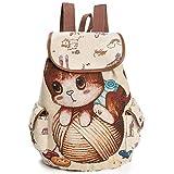 Nrpfell Mochila de lona para mujer Bolso bolsa de cuerpo cruzado patron de gato de dibujos animados Mochila de viaje vintage informal