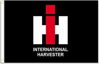 Home King International Harvester Black Flags Banner 3X5FT 100% Polyester,Canvas Head with Metal Grommet