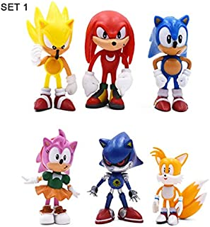 Yvonnezhang 3 Conjunto de Dibujos Animados Lindo Sonic PVC Figura de Acción Juego Sonic Knuckles Tails Coleccionables Modelo Muñeca Juguetes de Regalo para Niños, Juego 1