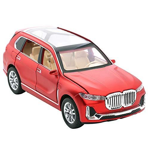 Xolye Metall-SUV Modell Gold-Legierung 01.32 Sound and Light Pull Back Kinder Jungen-Spielzeug-Auto kann die Tür Spielzeug-Auto-Dekoration Collection Urlaub Geburtstags-Geschenke (Color : Rot)