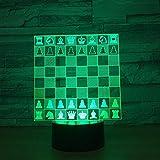 Ajedrez 3D LED Luz nocturna de 7 colores Touch LED USB mesa Lampala luz decoración hogar dormir luz nocturna regalo para amigos decoración de Navidad al aire libre DUYAO00