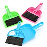 TXIN Set of 3 Mini Dustpan and Broom Set, Pet Cage Broom Brush Dustpan Desktop Sweep Cleaning Brush for Reptile, Hedgehog, Hamsters, Chinchilla, Guinea Pig, Rabbits and Other Small Animals