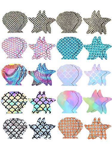 20 Pairs Nipple Covers Multi-Color Shell Breast Pasties Adhesive Starfish Nipple Covers