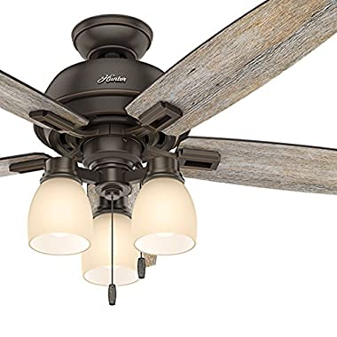 Hunter 52  Onyx Bengal Bronze Traditional Ceiling Fan with 3-Light Amber Light Kit (Certified Refurbished)