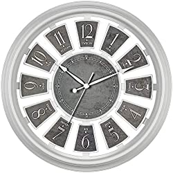 Bernhard Products Decorative Wall Clock Large 16 Inch Silent Non-Ticking White Clock with Gray Floating Number Panels, Battery Operated Clocks for Kitchen/Bedroom/Living Room (16 Inch, White & Gray)