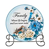 Collections Etc Sentimental Family Saying Decorative Plate with Display Stand, Beautiful Gift Idea and...